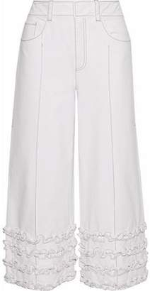 Cinq à Sept Carmelina Cropped Ruffled Cotton-Twill Wide-Leg Pants