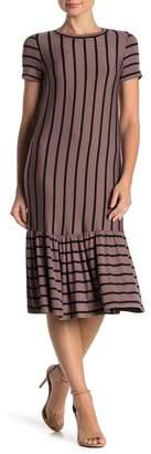 Cotton Emporium Striped Ruffle Hem Midi Dress