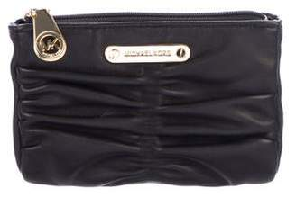 Michael Kors Ruched Leather Zip Pouch