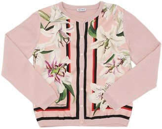 Dolce & Gabbana Lilium Printed Silk Blend Knit Cardigan