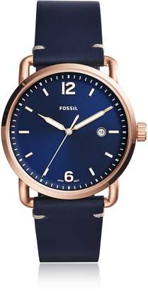 Fossil The Commuter Three-Hand Date Blue Leather Men's Watch
