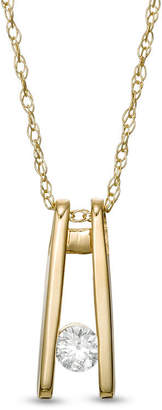 Zales 1/15 CT. Diamond Solitaire Ladder Pendant in 10K Gold