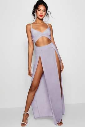 boohoo Slinky Bralet And Split Maxi Skirt Co-Ord