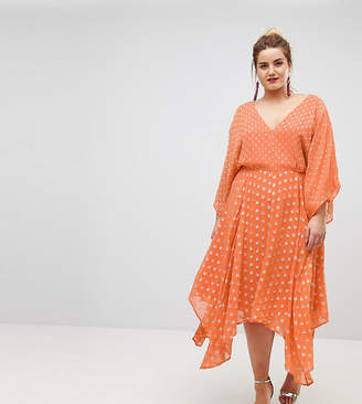 Asos Flutter Sleeve Midi Dress with Hanky Hem in Glitter Spot