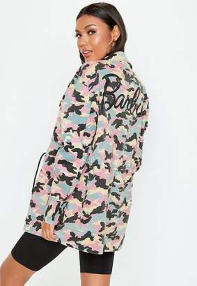 Missguided Barbie x Pink Logo Camo Jacket
