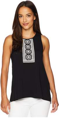 Vince Camuto Specialty Size Petite Sleeveless Top with Crochet Bib Applique Women's Clothing