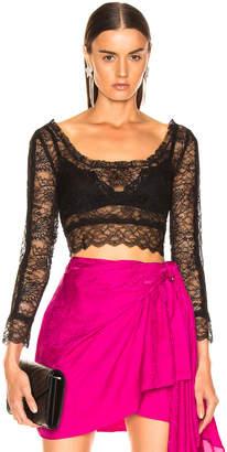 Dundas Crop Lace Top in Black   FWRD