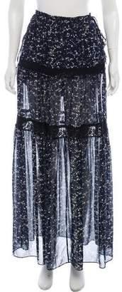 R/R Studio Floral Print Maxi Skirt