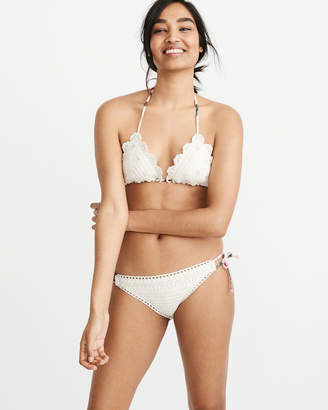 Abercrombie & Fitch Embellished Crochet Triangle Bikini Top