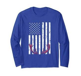 Deer Antlers American Flag USA Hunting Long Sleeve Shirt