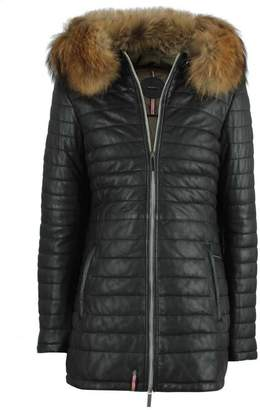 Oakwood Black Leather Fur Trim Long Line Jacket