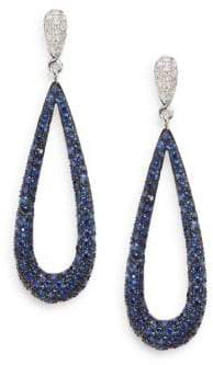 Effy Diamond, Sapphire & 14K White Gold Drop Earrings