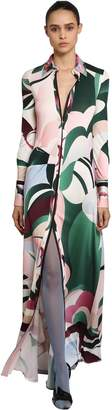 Emilio Pucci Printed Silk Satin Jersey Shirt Dress