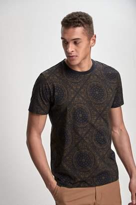 8cc6bc2e509 Next Mens Black Paisley Pattern Tile Print T-Shirt