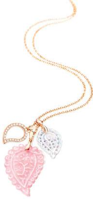 Tamara Comolli Signature India Leaf Pendant Necklace with Diamonds in 18K Rose Gold