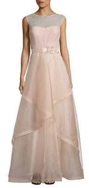Teri Jon by Rickie Freeman Embellished Tulle Ball Gown