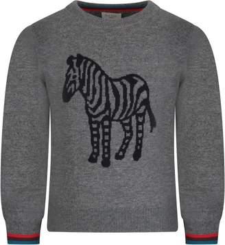 Paul Smith Grey Babyboy Sweater With Iconic Zebra