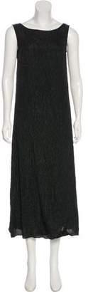DKNY Plissé Silk Midi Dress