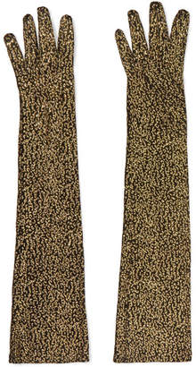 Gucci Metallic Leopard-jacquard Gloves - Black