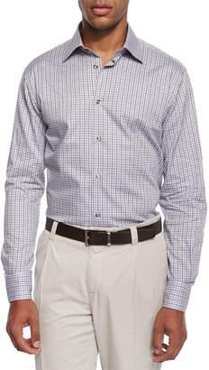 Ike Behar Chambray Check Sport Shirt, Gray