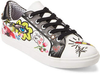 Betsey Johnson White Willow Graffiti Low-Top Sneakers
