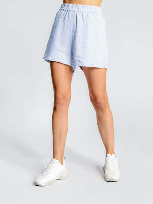 Assembly Label Linen Basis Shorts in Pale Blue White Stripe