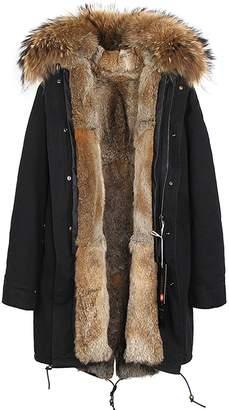 S.ROMZA Women Real Rabbit Fur Parka Long Hooded Coat Detachable Jacket Warm Parka
