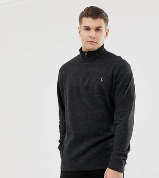 Big & Tall half zip cotton knit jumper multi player logo in charcoal marl