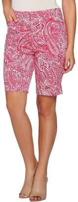 Susan Graver Printed Stretch Cotton Zip Front Bermuda Shorts
