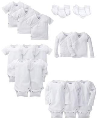 Gerber Layette White Essentials Baby Shower Gift Set, 19pc (Baby Boy or Baby Girl Unisex)