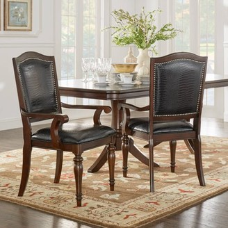 Weston Home Dark Cherry Alligator Faux Leather Dining Chair, Set of 2
