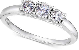 TruMiracle 14k White Gold Ring, Diamond Three-Stone Ring (1/4 ct. t.w.)