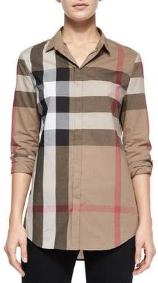Burberry Long-Sleeve Button-Front Check Shirt, Taupe $295 thestylecure.com
