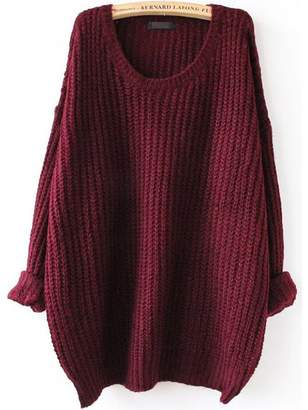Shein Batwing Drop Shoulder Loose Knit Sweater