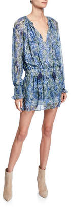 Ramy Brook Brinley Tassel-Tie Long-Sleeve Smocked-Waist Patterned Mini Dress