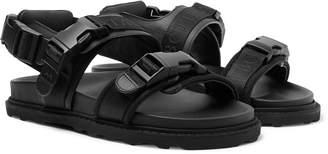 Bottega Veneta Webbing-Trimmed Leather and Wool Sandals - Men - Black