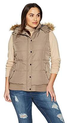 The Plus Project Women's Plus Size Quilted Puffer Vest with Hood and Removable Faux Fur Trim 4X-Large