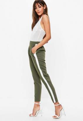 Missguided Khaki Side Stripe Cigarette Pants