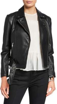 Emporio Armani Leather Zip-Front Biker Jacket