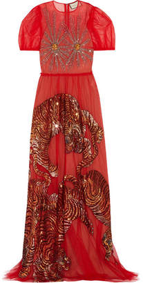 Gucci Embellished Tulle Gown - Red