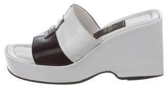 Fendi Zucca Semi-Wedge Slide Sandals