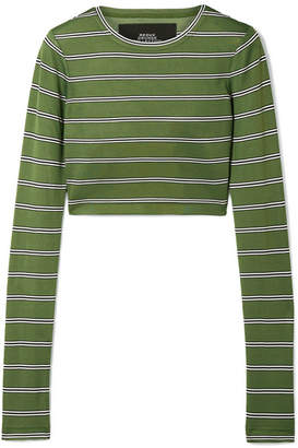 Marc Jacobs Cropped Striped Jersey Top - Green