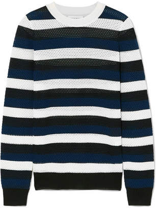 Sonia Rykiel Striped Open-knit Wool-blend Top - Blue