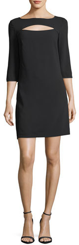 Trina Turk Boat-Neck Crepe Cutout Shift Dress