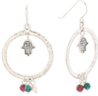 Made In Israel Sterling Silver Gemstone Hamsa Earrings