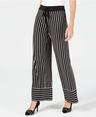Alfani Striped Tie-Waist Wide-Leg Pants