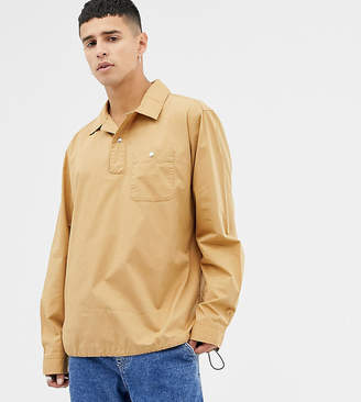 Noak half zip overhead shirt in stone with long sleeves