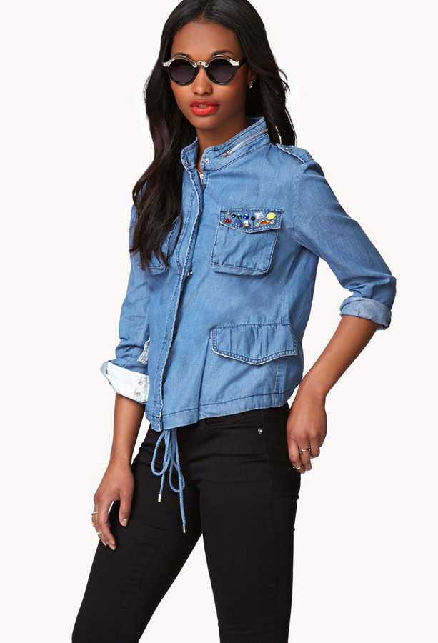 Forever 21 Contemporary Bejeweled Chambray Utility Jacket