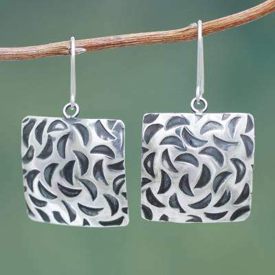 Sterling Silver Square Earrings with Burnished Accents, 'Lunar Squares'