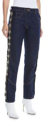 Johanna Ortiz Straight-Leg Boyfriend Jeans w/ Removable Side Tux Strass Crystals